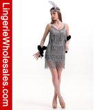 Halloween-Partei-Abendkleid-Form-Troddel-Prallplatte-Minikleid der Frauen