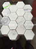 Mosaico de mármol de piedra blanco de la pared del suelo de azulejo de la dimensión de una variable del ventilador de Bianco Carrara C