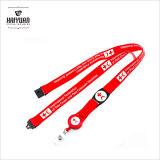Lanière rouge de courroie de collet de polyester/avec la bobine d'insigne pour des téléphones, appareils-photo, USB, clés, lanière de trousseaux de clés