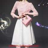 Womenのための長いSleeve Fashion Lace Woven Dress