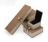 Rectángulo de joyería de madera material de lino elegante de la serie del botón del alto grado de la sensación, rectángulo del anillo, rectángulo pendiente, rectángulo de la pulsera, rectángulo del collar