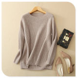 Color sólido de la cachemira de los géneros de punto de las mujeres del suéter puro del suéter con el cuello largo de la funda O