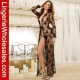 Reizvolle Spitze-lange Kleid-Kleid-Umhüllungen-Wäsche-langes Mantel-Nachtzeug