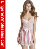 Femmes sexy Voir-Bien que lingerie réglée de vêtements de nuit de Babydoll de robe de courroie de lacet