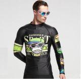 Chemise et vêtements de bain de T-shirts de Lycra des hommes de procès de sport de plage longs &Wetwear