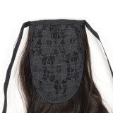 20 pouces droits soyeux de couleur noire de Kanokalon de cheveu de griffe de clip de queue de cheval de parties synthétiques de cheveu