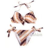 Neuer Plaid-Druck drücken oben geformten Cup-Frauen-Bikini-Badeanzug