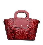 Spitzenchinesische Art-kundenspezifische rote lederne Schultertote-Luxuxbeutel für Damen