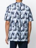 人の青い綿安全ピンプリントTシャツ