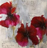 현대 추상적인 꽃 장식적인 유화 아름다운 빨간 꽃 Handmade 화포 그리는 짜임새 벽 예술