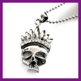 Charm Men's Infinity Tibet Prata Aço Inoxidável Crânio Pingente Chain Necklace