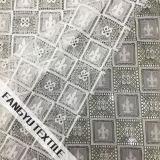 格子図形デザインのナイロン綿のレースファブリック
