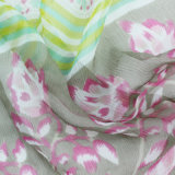Écharpe femme imprimée imprimée 100% multicolore en mousseline de soie (AMA170609-9)