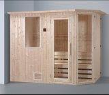 sauna da madeira contínua do retângulo de 2400mm para 6 pessoas com o tamborete da camada dobro (AT-8640)
