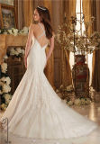 Mori Lee Sweep Train Embroidery High Neck Halter Cross Beaded Criss - Cross Back Mermaid/Trumpet Wedding Dress (Dream - 100087)