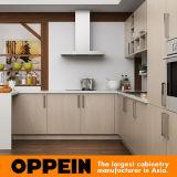 Mobília em forma de u da cozinha da grão de madeira clara moderna de Oppein (OP16-M07)