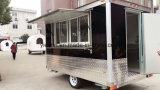 De zwarte Aanhangwagen van de Keuken van de Kleur Mobiele met de Glijdende Vensters van het Glas