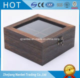 Rectángulo de madera cuadrado carbonizado aduana del bolso de té con la tapa de cristal