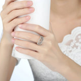 100% 925 Sterling Silver Hearts Tiara, Clear CZ Women Finger Ring Compatível com Original Jewelry Mood Ring