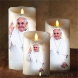 Vela religiosa de la nueva del hogar cera blanca LED del pilar