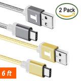 6.6 (2M) экстренно длиннего Braided FT типа кабеля USB c с реверзибельным разъемом