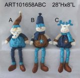 Santa, Snowman and Moose Decoration Christmas Decoration Tree, 3 Asst-