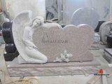 Красный ангел надгробной плиты гранита высекая мемориальный Headstone с двойным сердцем