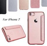 Caja de electrochapado del teléfono móvil del cuero del tirón de la carpeta de TPU con la tarjeta Porket para el iPhone 6 6splus (XSQB-002)