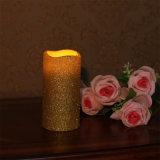 タイマーが付いている黄色い電子蝋燭の柱Flameless LEDの蝋燭
