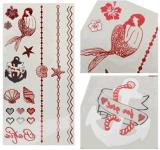 Etiqueta engomada temporal impermeable metálica roja del tatuaje de las estrellas de mar de la sirena