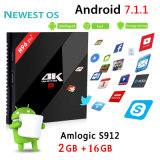 Коробка TV Android оптового интернета 2GB+16GB Amlogic S912 4k HD франтовская