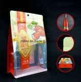 Flache Unterseiten-Fastfood- Beutel-Aluminiumfolie-Reißverschluss-Verschluss-Nahrungsmittelbeutel Customzied Transperant Entwurf lamellierter Fastfood- Beutel für Nahrung