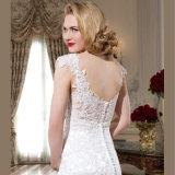 O tampão do cetim do vintage Sleeves o vestido de casamento da sereia da tecla com Applique