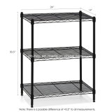Sistema resistente do Shelving do fio de 60 x de 30 x de 80 Cm, 3-Tier, preto