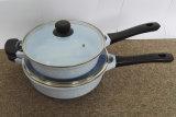 ガラスふたが付いている鍋を揚げる陶磁器の上塗を施してある鋳造アルミ