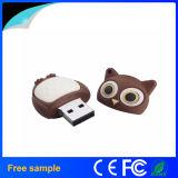Movimentação macia do flash da forma da coruja do USB 2.0 da movimentação da pena do pássaro do PVC do logotipo feito sob encomenda