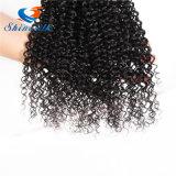 cabelo Curly Kinky malaio do Virgin da classe 7A 4 pacotes de cabelo Curly malaio