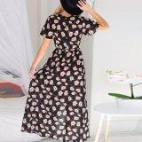 Form-Frauen-Chiffon- gedrucktes Schlitz V-Stutzen Verband-Kleid