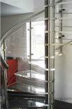Escalera espiral teñida del pasamano de cristal