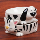 Pet Ceramic Food Water Paw Print Pet Dog Puppy Alimentando Dish Bowl