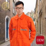 Combinação alaranjada do piloto da segurança do OEM, uniforme forte do Workwear do piloto da linha aérea da tela de algodão do poliéster