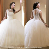 Vestido de casamento nupcial Tulle da cabeçada que perla o vestido de casamento Backless D1604