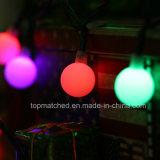 La stringa della sfera del globo illumina l'indicatore luminoso decorativo alimentato solare della stringa dell'indicatore luminoso di natale per le decorazioni domestiche del partito di prato inglese del patio del giardino
