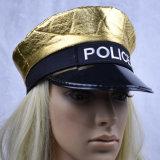 La policía del oro del niño captura viste para arriba el sombrero del casquillo con bordado de la insignia