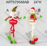 """24 """" H Santa derecho a base de madera Snowman-2asst. - Decoración de la Navidad"""
