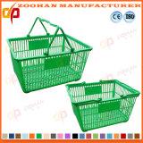 Panier à provisions en plastique coloré promotionnel de mémoire de supermarché de bonne qualité (Zhb110)