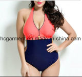 Grande costume da bagno per le donne, usura di un pezzo del merletto di nuoto di Più-Formato