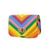 Sacos de couro da forma das senhoras de saco da embreagem das mulheres da cinta do arco-íris