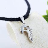 二重中心の吊り下げ式の恋人のカップルのペンダントのネックレスのための純粋な固体925純銀製の宝石類愛しなさい