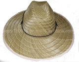 Kundenspezifischer preiswerter Formmens-Cowboy-Großhandelsstrohhut mit Gummifirmenzeichen-und Drucken-Rand